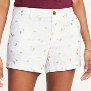 Old Navy White Linen With Gold Palm Trees Size 10